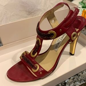 Jimmy Choo Napa/Watersnake Burgundy 30
